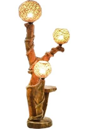 Kumsal Doğal Kütük Ağaç Halatlı Tasarım Doğal Ağaç El Yapımı