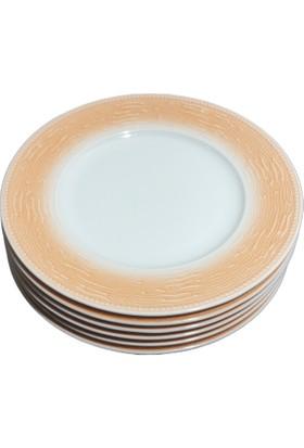 Güral Porselen Ruby Model 6 Adet 20 cm Turuncu Pasta Tabağı Takımı
