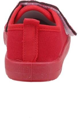 Sanbe 106P108 Okul Kreş Işıklı Kız Çocuk Keten Panduf Ayakkabı Kırmızı