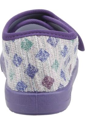 Sanbe 106P124 Okul Kreş Kız/erkek Çocuk Keten Panduf Ayakkabı Mor