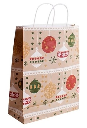 Kullan At Market Yılbaşı Süsleri Desenli Karton Hediye Poşeti 18 x 18 x 23 cm 1 Adet