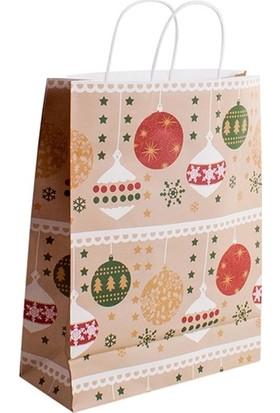 Kullan At Market Yılbaşı Süsleri Desenli Karton Hediye Poşeti 26 x 10 x 32 cm 1 Adet