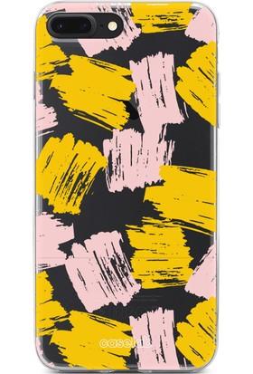 """Caselab Apple iPhone 7 Plus / 8 Plus """"Brushed Yellow Pink"""" Tasarımlı Şeffaf Kılıf"""