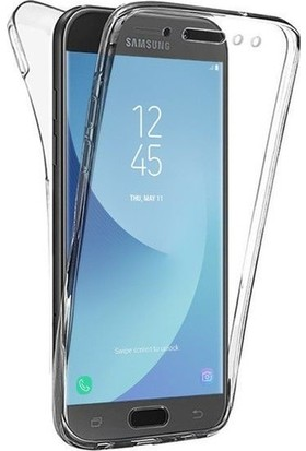 Magazabu Samsung Galaxy J7 Pro Kılıf Şeffaf 360 Derece Tam Kaplayan Silikon