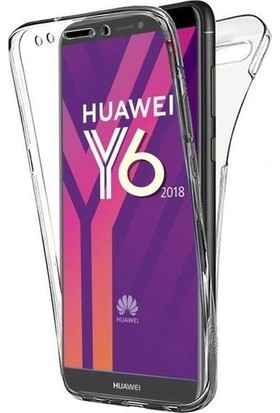 Magazabu Huawei Y6 2018 Kılıf Şeffaf 360 Derece Tam Kaplayan Silikon