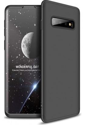 Efsunkar Samsung Galaxy S10 Ultra Lüx Görünümlü 360 Full Tam Kaplayan Kap Kılıf - Siyah