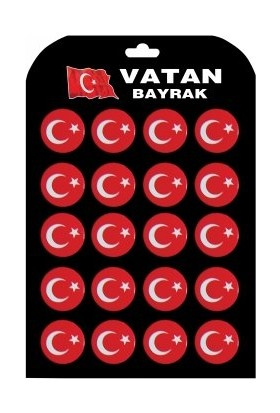 Vatan Çanta Rozeti VT653 - Türk Bayraklı - 20 Li Kartela ( 3.5cm)