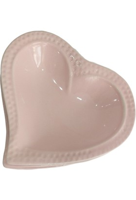 Evanilife Dekoru Kalp Model Pembe Sosluk ve Çerez Tabağı