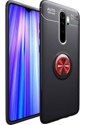 Oppo A9 2020 Kılıf Novel Yüzük Tutuculu Standlı Silikon Siyah-Kırmızı