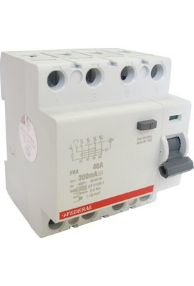 Federal Elektrik FK4 4P, 25A, 10 kA, 300mA, 400 V Kaçak Akım Koruma Şalteri