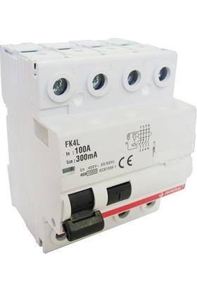 Federal Elektrik FK4L 4P, 100A, 10 kA, 30mA, 400 V Kaçak Akım Koruma Şalteri