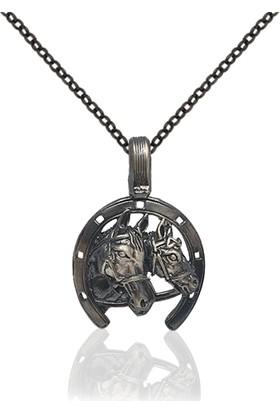Dalman Silver Jokey Kulüp Atlı Nal Özel Kaplama Yüzeyli Gümüş Kolye