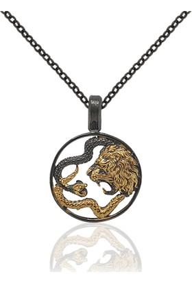 Dalman Silver Siyah ve Altın Kaplamalı Çift Başlı Yılan Tılsım Gümüş Kolye