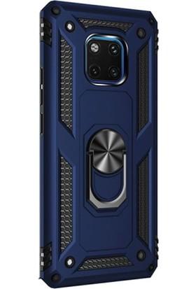 Gpack Huawei Mate 20 Pro Kılıf Vega Standlı Yüzüklü Mıknatıslı + Nano Ekran Koruyucu + Kalem Lacivert