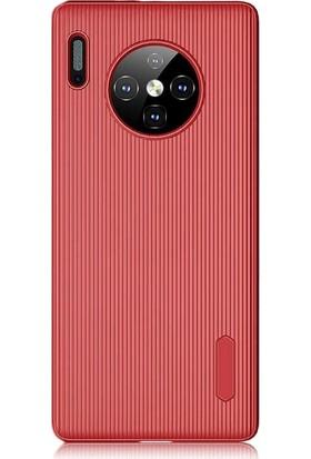 Gpack Huawei Mate 30 Pro Kılıf Çizgili Trio Silikon Lüx Koruma + Nano Ekran Koruyucu + Kalem Kırmızı