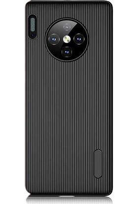 Gpack Huawei Mate 30 Pro Kılıf Çizgili Trio Silikon Lüx Koruma + Nano Ekran Koruyucu + Kalem Siyah