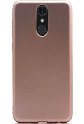Gpack LG Q7 Plus Kılıf Premier Esnek Lüx Silikon + Nano Ekran Koruyucu + Kalem Gold
