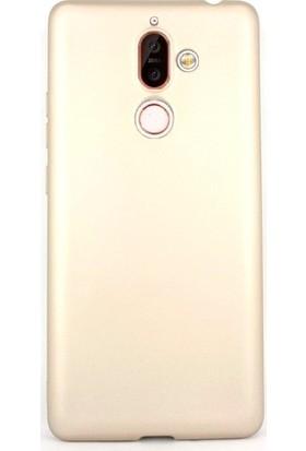 Gpack Nokia 7 Plus Kılıfları Kılıf Premier Silikon Koruma + Nano Ekran Koruyucu + Kalem Gold