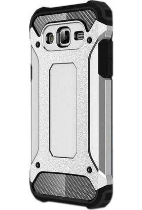 Gpack Samsung Galaxy J7 Core Kılıf Crash Tank + Nano Ekran Koruyucu + Kalem Gümüş