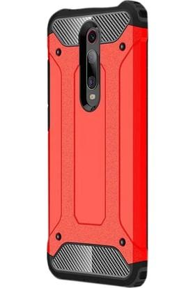 Gpack Xiaomi Redmi K20 Kılıf Crash Tank Çift Katman + Nano Ekran Koruyucu + Kalem Kırmızı