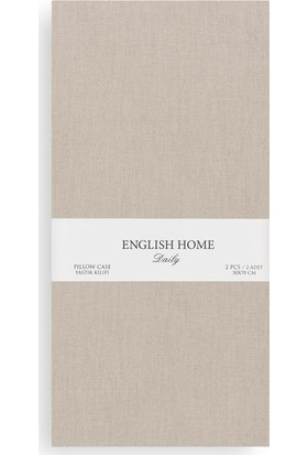 English Home Düz Pamuklu 2'Li Yastık Kılıfı 50X70 Cm Urban Bej