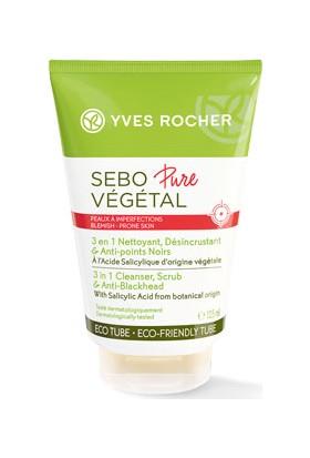 Yves Rocher Sebo Pure Vegetal - 3'ü 1 Arada: Siyah Nokta Karşıtı, Gözenekleri Derinlemesine Arındıran Peeling Etkili Yüz Yıkama Jeli 125 ml