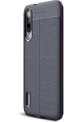 Case Street Xiaomi Mi 9 Lite Kılıf Niss Silikon Deri Görünümlü Lacivert