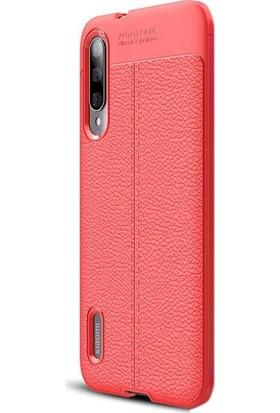 Case Street Xiaomi Mi 9 Lite Kılıf Niss Silikon Deri Görünümlü + Nano Ekran Koruyucu Kırmızı