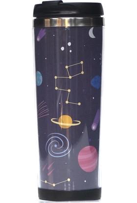 Poyener İçi Çelik Hediyelik Uzay Tasarımlı Termos Bardak Mug 350 ml
