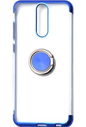 Happyshop Xiaomi Redmi 8 Kılıf 4 Köşe Renkli Şeffaf Yüzüklü Gess Silikon + Ekran Koruyucu Mavi