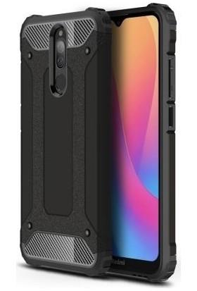 Happyshop Xiaomi Redmi 8 Kılıf Çift Katmanlı Armour Case + Ekran Koruyucu Siyah