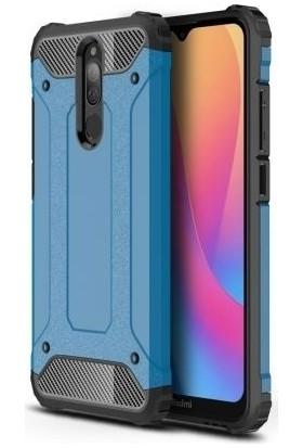Happyshop Xiaomi Redmi 8 Kılıf Çift Katmanlı Armour Case + Ekran Koruyucu Mavi