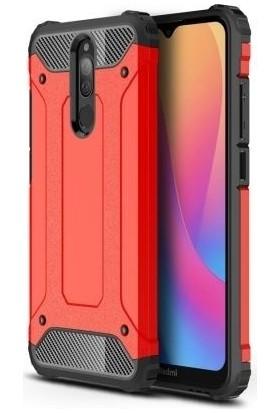 Happyshop Xiaomi Redmi 8 Kılıf Çift Katmanlı Armour Case + Nano Ekran Koruyucu Kırmızı