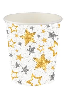 Bursapazarı Roll-Up Party Dreams Karton Bardak Yıldızlar Beyaz 8'li