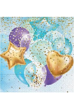 Bursapazarı Roll-Up Party Dreams Peçete Uçan Balonlar Mavi 20'li 25PK