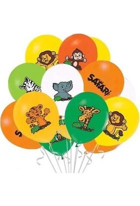 Balonevi Safari Baskılı Balon Seti 12'li