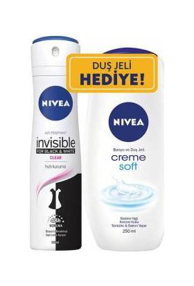 Nivea Creme Soft Duş Jeli 250 ml + Nivea B&W Clear Deodorant 150 ml
