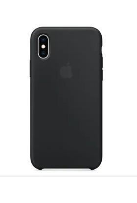 Gezegenaksesuar Apple iPhone XS Max Logolu Kaymaz Kapak - Siyah