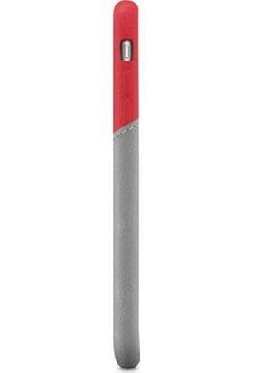 Decoded Apple iPhone 7 Deri Kapak Kılıf - Kırmızı - Gri