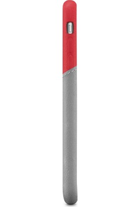 Decoded Apple iPhone 7 Plus Deri Kapak Kılıf - Kırmızı - Gri