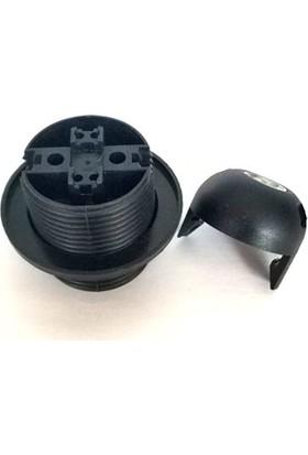 Marketcik E27 Siyah Tam Dişli Rondelalı Geçmeli Duy