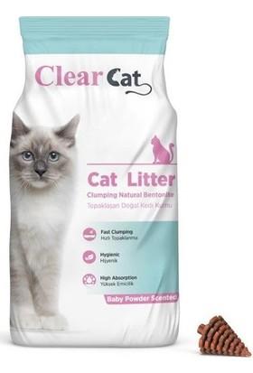 Clear Cat Bebek Pudralı Kokulu 5 kg İnce Taneli Bentonit Kedi Kumu