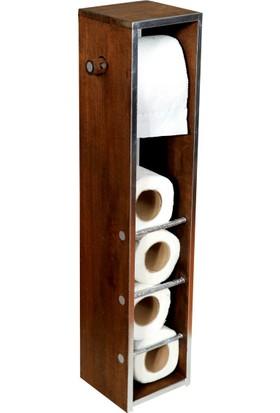 Bahat Wc Kağıtlık Tuvalet Kağıtlığı Kayın Ağacı Ceviz Metalize