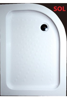 Ubm Banyo Asimetrik Oval Monoblok Duş Teknesi Sol 70 x 100 cm