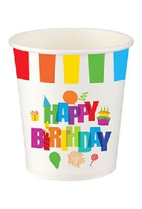 Bursapazarı Roll-Up Party Dreams Karton Bardak Renkli Doğum Günü 8'li