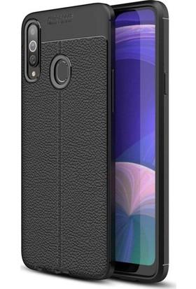 Ehr. Samsung Galaxy A20s Deri Dokulu Missing Kılıf + Nano Ekran Koruyucu Cam Siyah