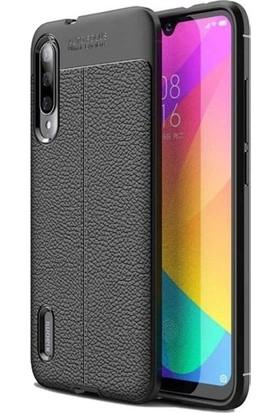 Ehr. Xiaomi Mi 9 Lite Deri Dokulu Missing Kılıf + Tam Kaplayan Cam Siyah