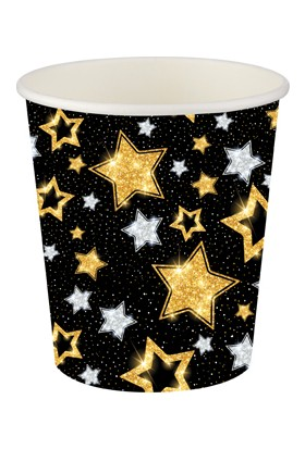 Bursapazarı Roll-Up Party Dreams Karton Bardak Yıldızlar Siyah 8'li