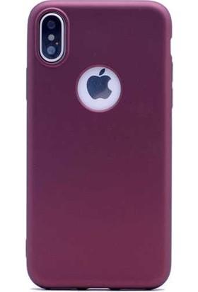 Lorexpress Apple iPhone X Premium Rubber Mat Silikon Kılıf- Mürdüm