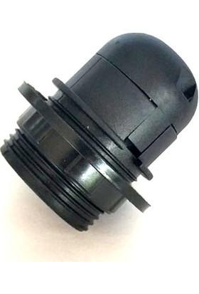 Marketcik E27 Siyah Yarım Dişli Rondelalı Geçmeli Duy